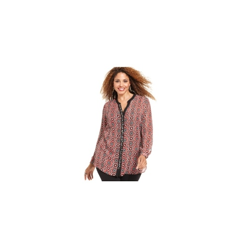 NY Collection Plus Size Top, Long-Sleeve Embellished-Placket