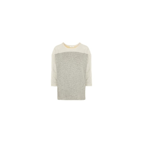 Leather-trimmed cotton, ramie and linen-blend top