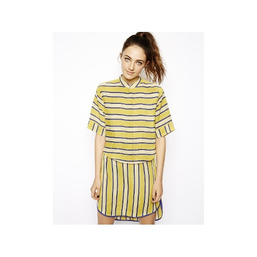 Blouse with Curved Hem in Speedway Stripe