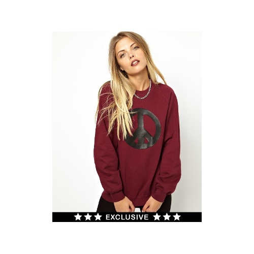 Poorboy PU Peace Sign Sweat Exclusive to ASOS