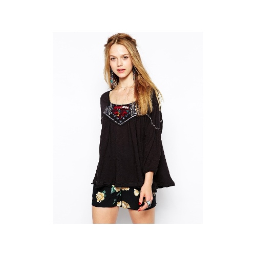Long Sleeve Blouse With Embroidered Neckline