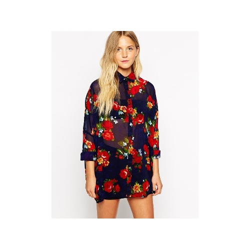 Floral Print Dress With Cuffed Hem