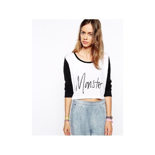 Monster Constrast Sleeve Crop Top