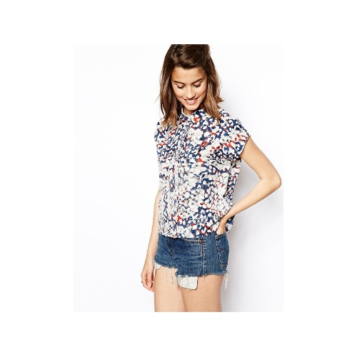 Short Sleeved Blouse with Animal Print