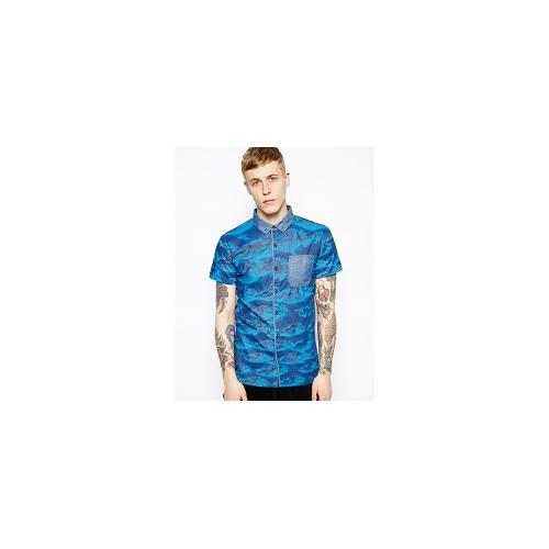Volklore Shirt in Short Sleeve with Cloud Print - Blue