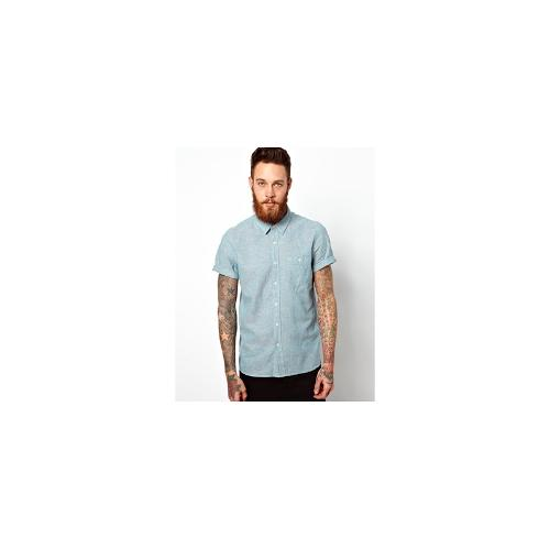 ASOS Shirt In Short Sleeve With Linen Mix - Turquoise