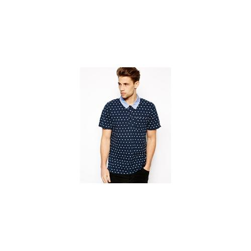 Another Influence Polo Shirt In Geo Print - Blue