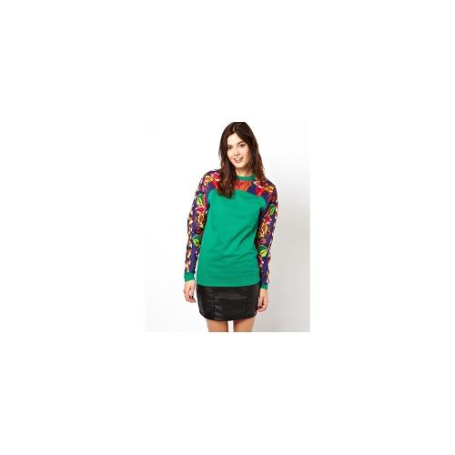 ASOS Premium Sweatshirt with Aztec Embroidered Cord Sleeves - Green