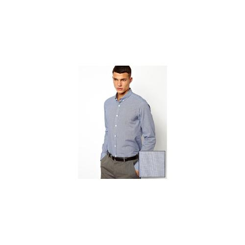 ASOS Smart Shirt In Long Sleeve With Mini Check And Button Down Collar