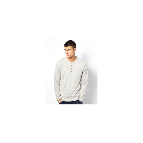 Jack & Jones Long Sleeve Grandad Top - Light grey melange