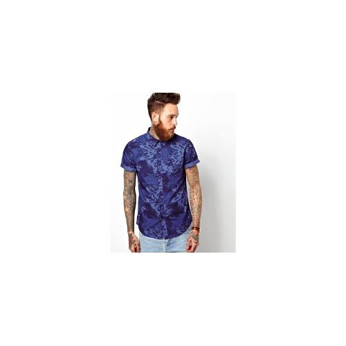 ASOS Bleachout Print Shirt In Short Sleeve - Navy