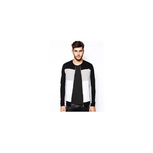 ASOS Bomber In Jersey With Cut And Sew Quilting - Black