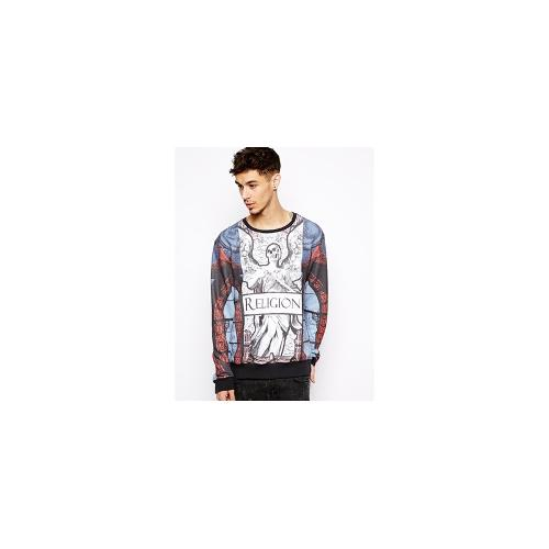 Religion Sweatshirt with All Over Print - Black