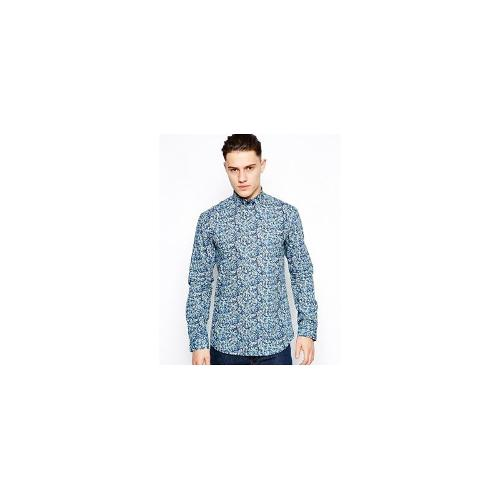 Selected Shirt With Floral Print - Blue