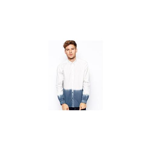 Selected Shirt With Dip Dye - White