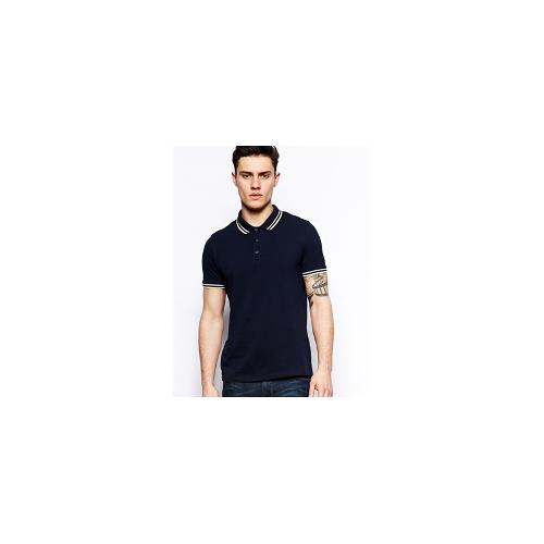 ASOS Polo Shirt With Two Colour Tipping - Navy