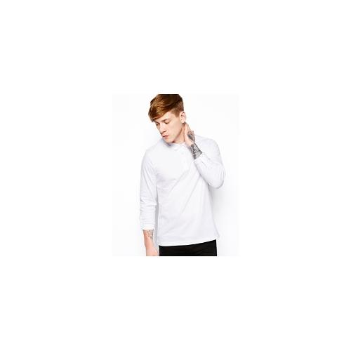 ASOS Long Sleeve Polo In Jersey With Roll Sleeve - White