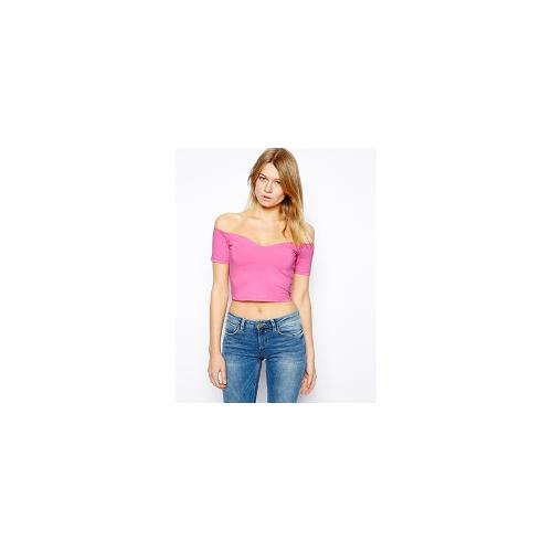ASOS Crop Top with Bardot Sweetheart Neckline - Washed pink