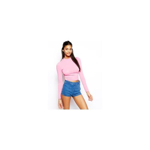 ASOS Crop Top with Long Sleeves and Turtle Neck - Washed pink