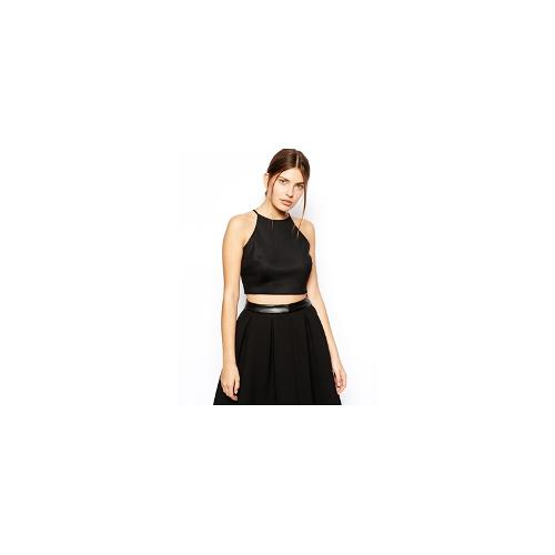 ASOS Cutaway Crop Top in Bonded Airtex - Black