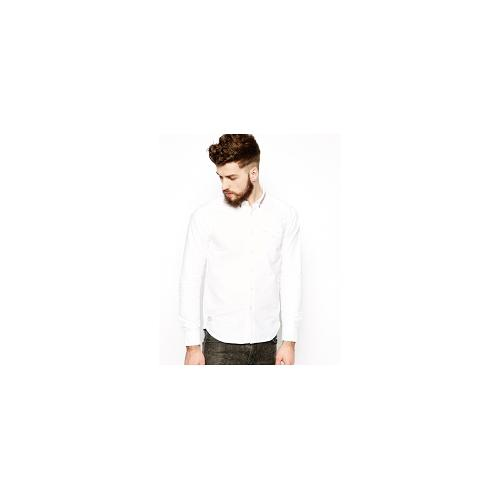 Black Chocoolate Oxford Shirt With Tipped Collar - White