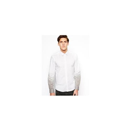 Religion Shirt with Ombre Sleeves - White / lightgrey