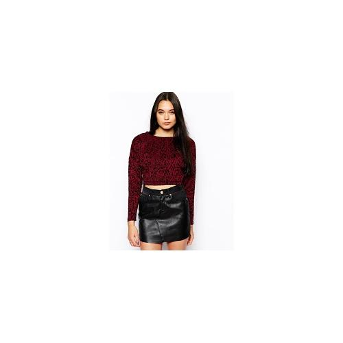 Glamorous Crop Top in Leopard Flock - Burgundy