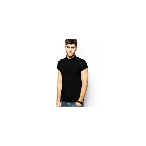 ASOS Polo Shirt In Jersey With Roll Sleeve - Black