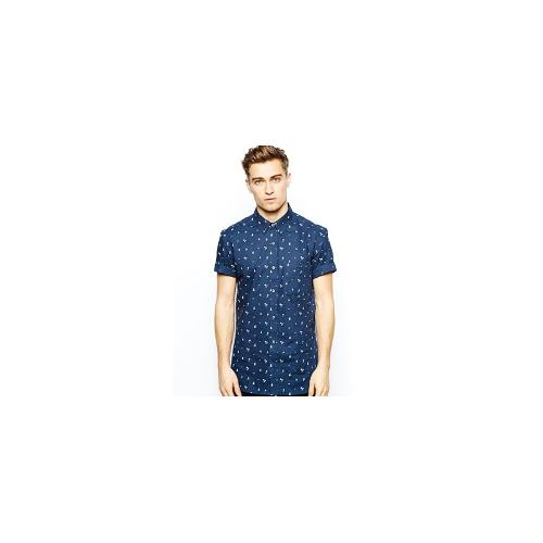 French Connection Short Sleeve Shirt With Beach Print - Navy