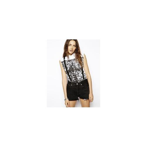 A Question Of Leo Mirror Print Sleeveless Shirt - White