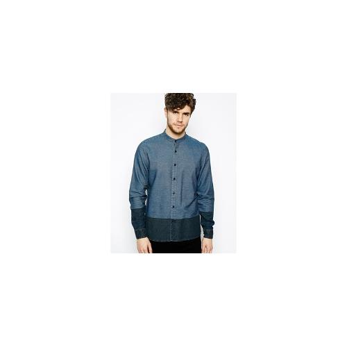 ASOS Grandad Shirt In Long Sleeve With Contrast Panel - Blue