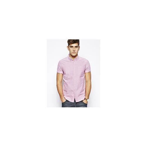 ASOS Oxford Shirt In Dark Pink With Short Sleeves - Deep pink