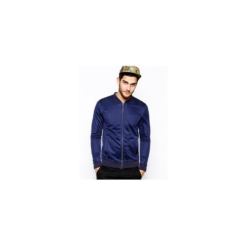 ASOS Bomber In Poly Tricot Jersey - Navy