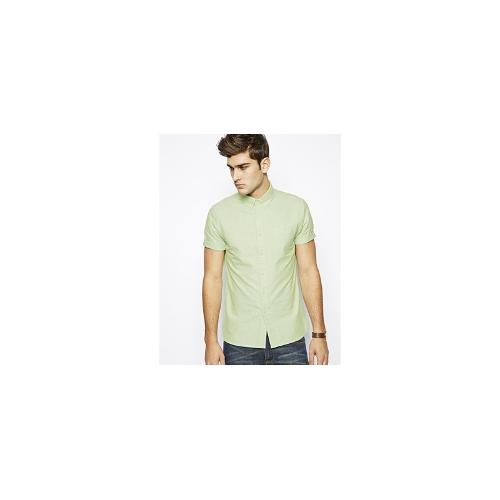 ASOS Oxford Shirt In Green With Short Sleeves
