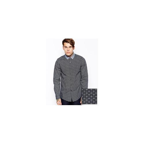 ASOS Smart Shirt In Long Sleeve With Diamond Print And Contrast Collar
