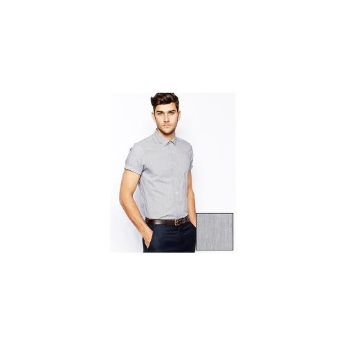 ASOS Smart Shirt In Short Sleeve With Pin Stripe