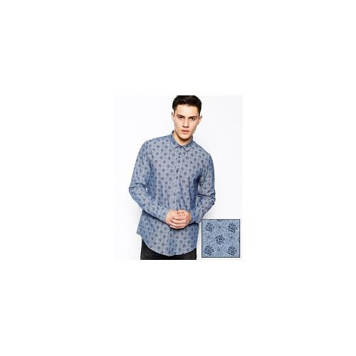 ASOS Smart Chambray Shirt In Long Sleeve With Floral Print