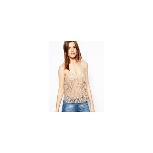 ASOS Cami Top in Beaded Lace - Pink