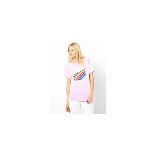 See By Chloe T-Shirt with Flocked Rainbow - Lilac