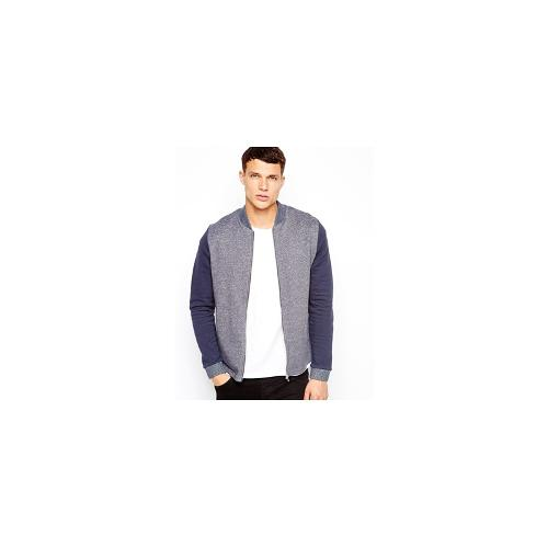 ASOS Bomber In Jersey With Textured Fabric And Contrast Sleeves - Navy