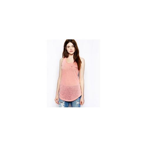 Brave Soul Vest Top With Zip Pocket Detail - Dusty pink
