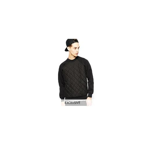 Reclaimed Vintage Sweatshirt with Quilted Front - Black
