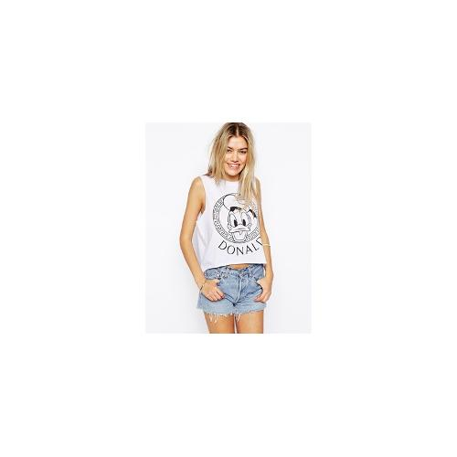 ASOS Cropped T-Shirt with Donald Duck Frame Print - White