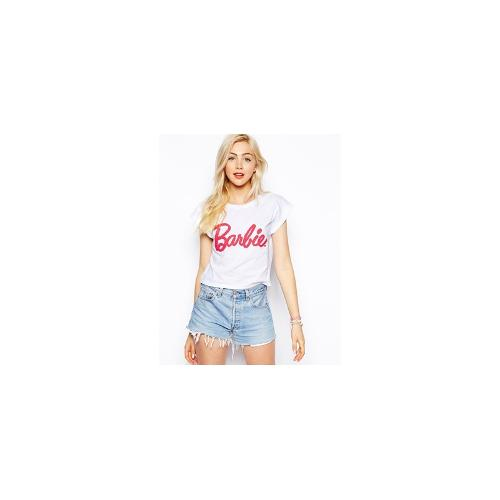 ASOS Cropped T-Shirt with Barbie Caviar Beading - White