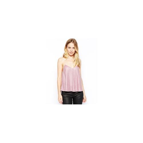 ASOS Cami with Strappy Back and All Over Embellishment - Pink