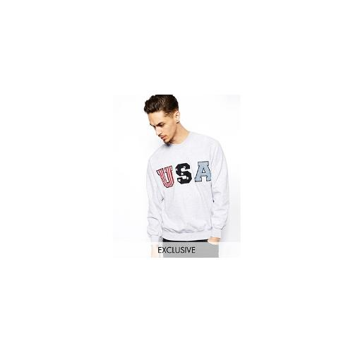 Reclaimed Vintage Sweatshirt with USA Applique - Grey