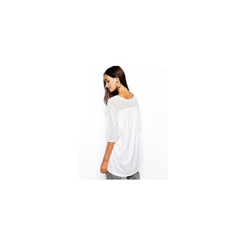The Laden Showroom X Inmuni Chiffon and Jersey Gathered Back Top - White $40.01
