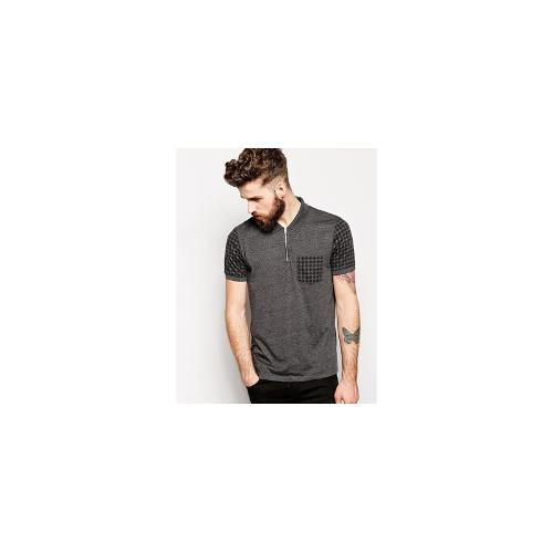 ASOS Polo Shirt With Zip Neck And Dogstooth Print - Charcoal