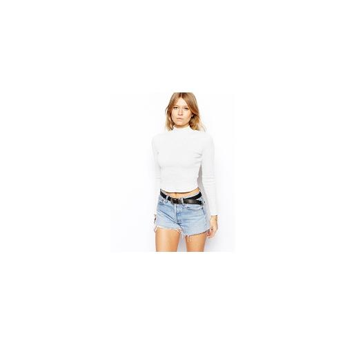 ASOS Crop Top with Turtle Neck in Rib Crop - White £14.00