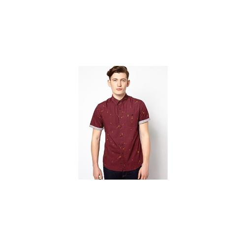 Farah Vintage Shirt with Dandelion Print with Short Sleeves in Slim Fit - Red